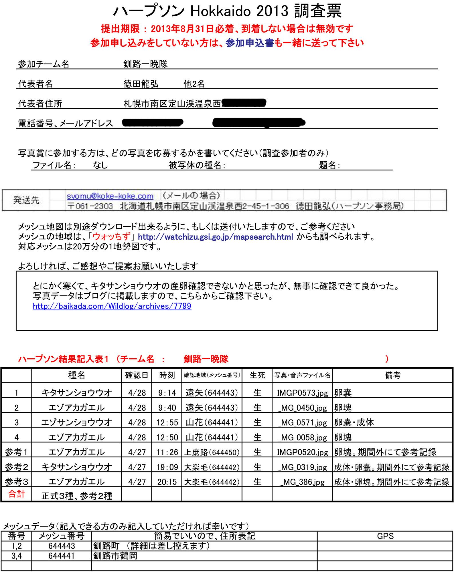釧路一晩隊(ハープソン2013)